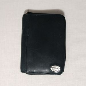 Fossil Black Leather Zip Around Wallet Notebook